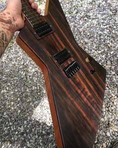 Almost done.  Just needs some strings and intonation.  I'm really happy with the top, there's even little flame that came out when finishing. #guitar