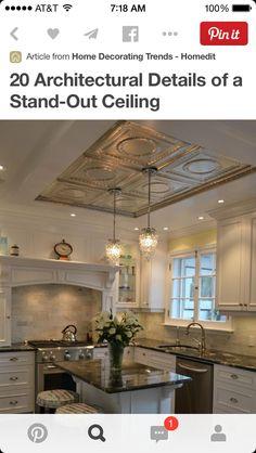 Ceiling tiles, pendant lights