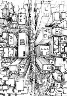 1 pt perspective Birds-eye-vie of city City Drawing, City Sketch, Perspective Drawing, Point Perspective, Urban Sketching, Art Graphique, Line Art, Art Drawings, Drawing Sketches