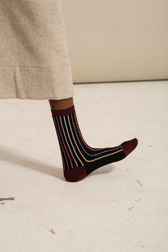 Goodwin | Rachel Comey Mini Stripe Metallic Crew Sock
