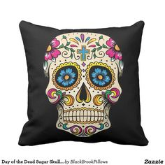 Day of the Dead Sugar Skull with Cross Pillow