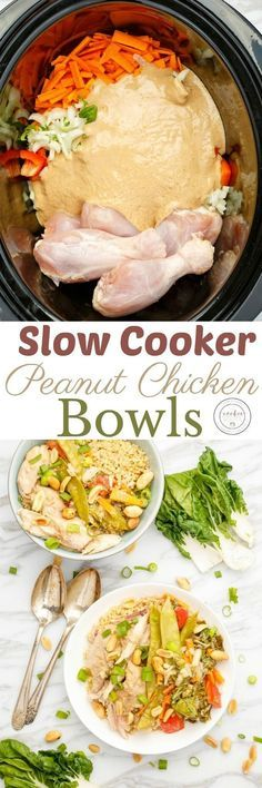 Slow Cooker Peanut Chicken Bowls | http://thecookiewriter.com | @thecookiewriter | #sponsored | Healthy easy recipes cooked in the crock pot are the way to go with back-to-school upon us! Get some meal prep out of the way and serve up some peanut chicken bowls! Because we know bowl recipes are all the rage right now!