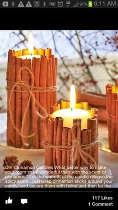 Takw some cinnamon sticks, twin together around your candle