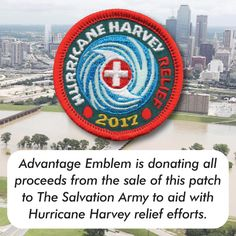 Is your council or troop helping with the hurricane relief effort?  Advantage Emblem is donating all proceeds from the sale of this patch to The Salvation Army to aid with Hurricane Harvey relief efforts.  Purchase the patch and help today!  http://www.advantageemblem.com/fun-patches/S-4981-hurricane-harvey-relief-2017.asp