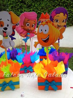 Bubble Guppies centerpiece Wood handcrafted for by FalconArte Bubble Guppies Centerpieces, Bubble Guppies Cake, Bubble Guppies Birthday, Birthday Party Centerpieces, Birthday Decorations, Boys First Birthday Party Ideas, 3rd Birthday Parties, 2nd Birthday, Disney Frozen Birthday
