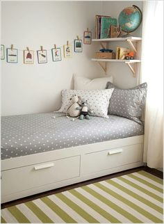 Drawers under the bed are good idea for clothes or toys to keep.