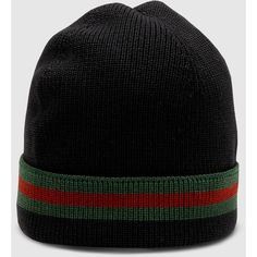 Gucci Knit Wool Web Hat ( 230) ❤ liked on Polyvore featuring accessories da37e8a95e5d