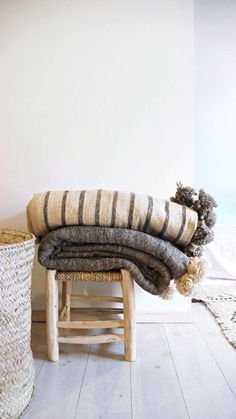 Moroccan Pom Pom Wool Blanket - Ecru and Grey stripes
