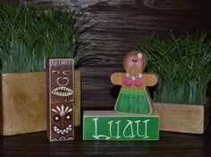 Hula Girl Hawaiian Home Decor Block set Hawaii by BlocksOfLove1, $15.99