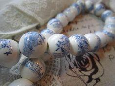 Ceramic blue Dutch windmill beads
