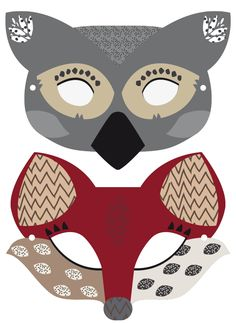 Animals free printable masks - Máscaras de animales a imprimir gratis