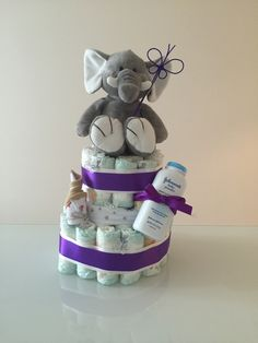 2 tier elephant nappy cake by Celebrating with Us. Delivers Sydney wide.