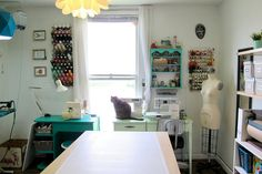 Remember when I moved last year and promised I'd share photos of my new sewing room? My Sewing Room, Sewing Rooms, Quilting Room, My Happy Place, Corner Desk, Studio, Furniture, Room Ideas, Couture