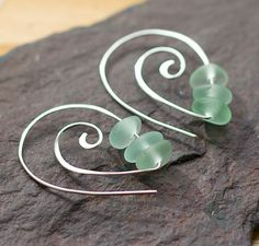 Sterling silver earrings Spirals Sea glass by BorealisSeaGlass, $28.00