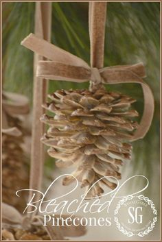 Christmas DIY: give pinecones a bea give pinecones a beautiful bleached look so easy christmas decorations crafts seasonal holiday decor Decoration Christmas, Noel Christmas, Homemade Christmas, Rustic Christmas, Winter Christmas, All Things Christmas, Christmas Ornaments, Pinecone Ornaments, Stone Gable Christmas