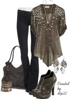 I already have black skinny jeans, and I like this color top paired with them!!  And the sparkle is just right!