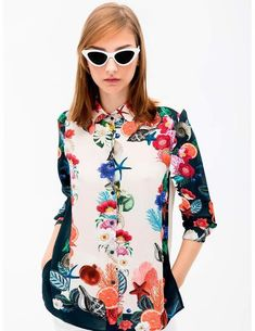 Camisa Vilagallo Isabella Blanca Con Flores Para Mujer