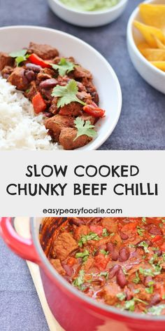 Feel smug at having dinner sorted hours ahead of time with this wonderful Slow Cooked Chunky Beef Chilli - perfect for busy days! Using diced beef rather than beef mince takes the humble chilli con carne to the next level... and the long slow cook ensures the beef is meltingly tender. Instructions given for both oven and slow cooker. #chunkychilli #beefchilli #chilliconcarne #makeahead #easyentertaining #easymidweekmeals #midweekmeals #easydinners #dinnertonight #familydinners…