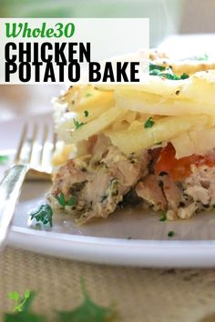 This Chicken Potato Bake recipe is so simple yet flavorful. With only 5 main ingredients, this bake is a great go-to recipe and is naturally Whole30. || Prepare and Nourish