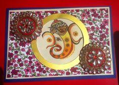 Art ,Craft ideas and bulletin boards for elementary schools: Diwali Handmade Card | Ganesha Card for Diwali