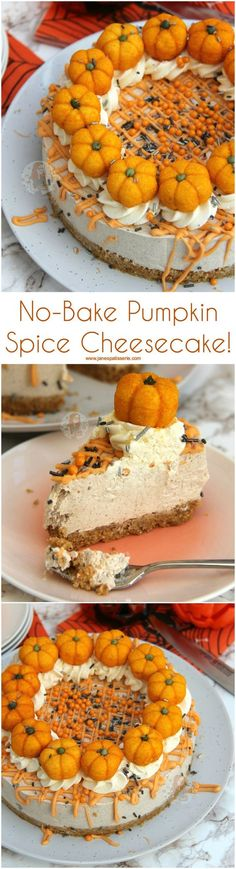 No-Bake Pumpkin Spice Cheesecake! Perfect Treat for Halloween and Autumn A No-Bake Pumpkin Spice Cheesecake! Perfect Treat for Halloween and Autumn A No-Bake Pumpkin Spice Cheesecake. DIY Pumpkin Spice and an Easy Vanilla Cheesecake are Perfect Together! Baked Pumpkin, Pumpkin Recipes, Pumpkin Spice, Diy Pumpkin, Thanksgiving Recipes, Fall Recipes, Holiday Recipes, Autumn Recipes Dinner, Autumn Desserts