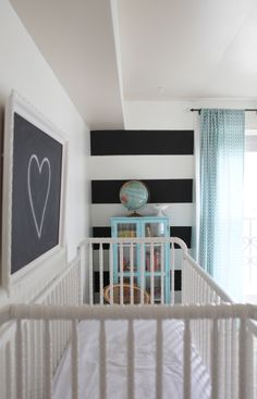 Striped wall in a nursery