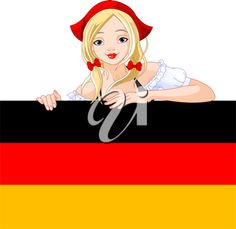 Illustration of Oktoberfest  Germany girl over Deutsch flag sign