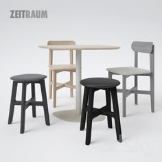 Zeitraum 1.3 Stool and 1.3 Chair with Kontra Table