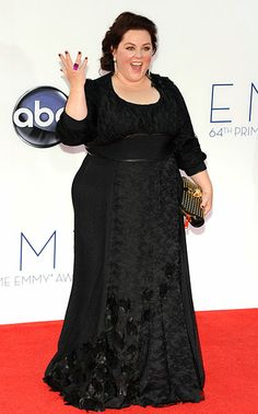 Melissa McCarthy in Daniella Pearl at 2012 Emmy Awards. Trend: Black Color: Black
