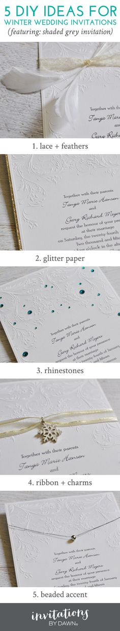 Check out these 5 DIY Ideas for Winter Wedding Invitations from Invitations by Dawn. You'll love these easy, beautiful accents you can do yourself!