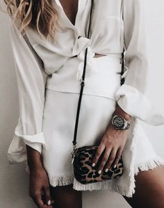 All white + leo clutch.
