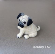 Needel felted pug от DreamyFox на Etsy