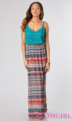 Floor Length Spaghetti Strap Print Dress at PromGirl.com
