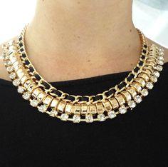 Black and Gold Statement Necklace - Zwart en goud kleurige statement ketting - koop online op shoplikesuze.nl