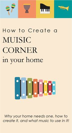 Create a Music Corner in your home! This is a perfect place for kids to play, sing, read, write, and Music Activities For Kids, Music For Toddlers, Music Lessons For Kids, Singing Lessons, Piano Lessons, Learning Through Play, Fun Learning, Teaching Kids, Learning Piano
