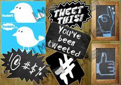 Twitter and Social Media Inspired Photo Booth by LMPhotoProps, $3.50 #lmphotoprops Photos Booth, Diy Photo Booth, Photo Booth Backdrop, Party Props, Party Themes, Accessoires Photobooth, Diy Fotokabine, Instagram Frame, Social Media