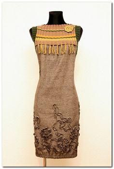 Sukienka Tweed Melanż OLIWKA / KHAKI ORANGE w agaartpl  na DaWanda.com