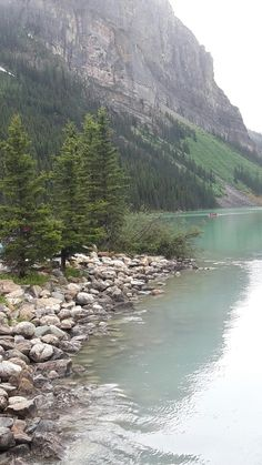 Beautiful Lake Louise on a drizzly day