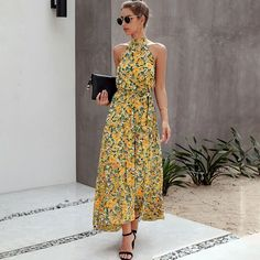 Women Floral Long Dress Sleeveless Halter Bow Turtleneck Backless Vint – Ozzy Bella All Great Apparel