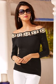 Women's Black Floral Applique Sweater by Boston Proper.