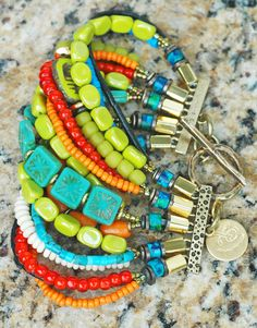 Caribbean Cuff: Exotic Island Inspired Turquoise, Lime, Orange & Black Cuff Bracelet $225
