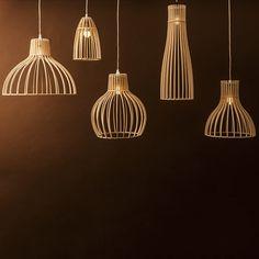 Lighting Range by Minima Minima's new range of light coverings throw shadows rather than provide shade. Made from Austrian birch plywood,. Decor, Pendant Lighting, Lamp Design, Home Lighting, Wood Lamps, Wooden Lamp, Bamboo Light, Wood Pendant Light Fixture, Light Fittings