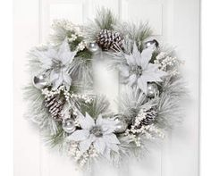 Snowy White Poinsettia Wreath, at Big Lots. Christmas Door Wreaths, Gold Christmas, Outdoor Christmas, Christmas Home, Christmas Bulbs, Christmas Ideas, Winter Wreaths, Christmas Goodies, Christmas Candy