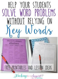 Word Problems Without Relying on Key Words This post shares a lesson idea and free printables that is a great alternative to teaching students to use key words when solving word problems.Great Great may refer to: Math Strategies, Math Resources, Math Activities, Math Games, Classroom Resources, Therapy Activities, Fun Math, Fifth Grade Math, Third Grade