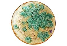 Majolica Leaves Wall Plate | One Kings Lane | Antique majolica leaves wall plate, circa 1900 from the North of France. Hanging hardware included | 8"