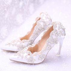 TBDress - TBDress Slip-On Stiletto Ultra-High Heel Pointed Toe Rhinestone Womens Wedding Shoes - AdoreWe.com