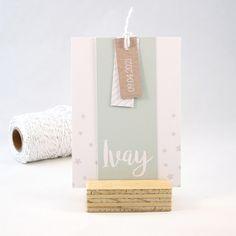 Geboortekaartje Ivay - DIY knipkaart - sterretjes - strepen - kraft - labels - kleur naar wens aan te passen
