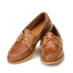 Burnished Boat Shoes with honey colored deck soles