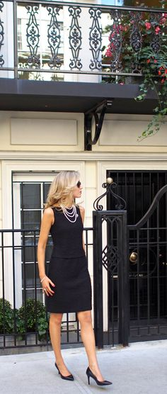 st. john boucle wool flutter dress two-piece connected black dress classic classy texture layered pearl necklace long string wrapped silver white gold diamond crystal vintage brooch prada cat-eye sunglasses metallic accents black pointed toe ralph lauren adena pumps heels mid heel pearl bracelet coco chanel inspiration
