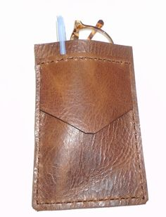 Brown vintage Leather Pocket Protector sleeve small #leather #mans #fashion